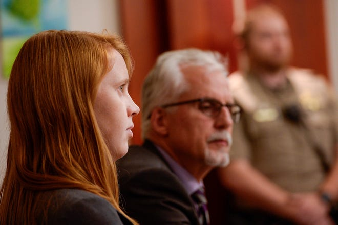 Attorney Randy Richards, right, represents Tilli Buchanan who is charged with criminal lewdness involving a child in Salt Lake City. Buchanan's stepchildren saw her topless.