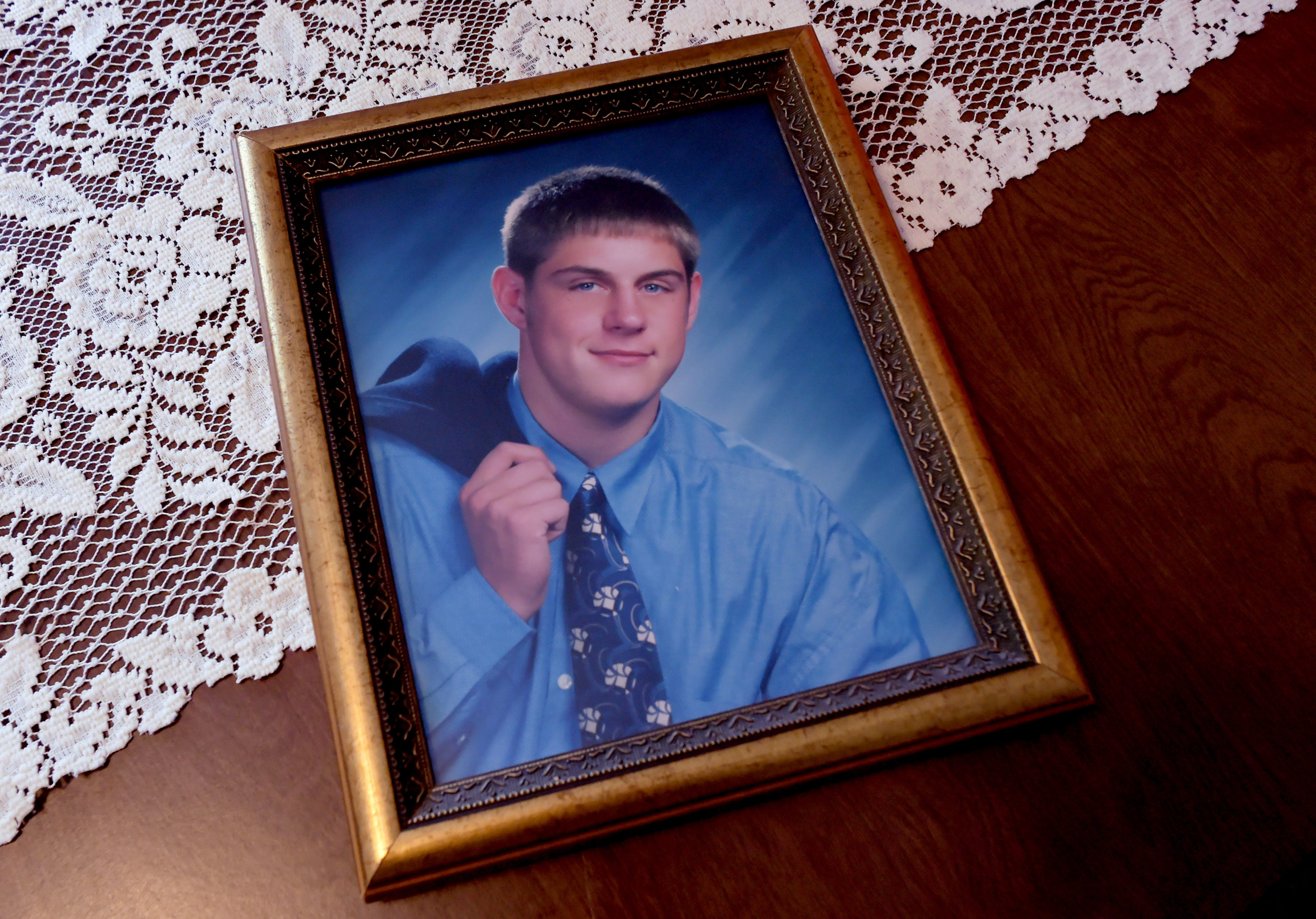 A high school graduation photo of Tom Husar at his parents Binghamton home. The Chenango Valley High School graduate died in November 2019 while in the Broome County jail on a probation violation. Husar, an high school and college athlete and later a well-known coach, suffered from a chronic disease.