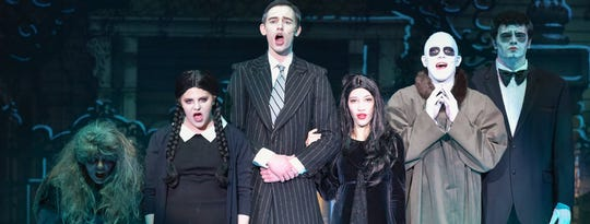 "From left: Haven Stetson, Kate Salamida, Joshua Schull, Andre'a Cuffie, Miles Powell and Kyle Olson perform in Binghamton High School's 2019 production of ""The Addams Family."""