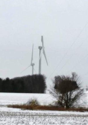 A blade partially broke off one of the wind turbines on Pine Hill Road in the Town of Cohocton on Friday, Jan. 17, 2020.