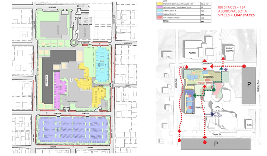 (Left) graphic of the site showing what it would look like when all phases are complete. (Right) graphic shows how circulation of foot traffic would work on the completed campus with the Master Plan.