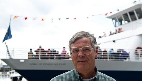 Mike Shea, owner of the Spirit of Ethan Allen III, stands in front of the vessel before a lunch cruise on Lake Champlain on July 27, 2011.