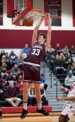 Holy Cross' Giovanni Cessel dunks the ball during the boys basketball game between Holy Cross and Cinnaminson played at Cinnaminson High School on Wednesday, January 22, 2020.