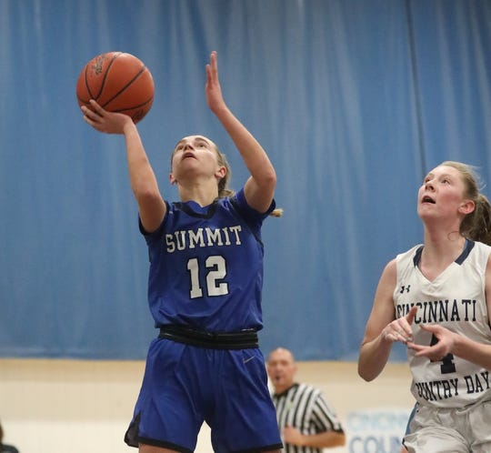 Summit Country Day guard Rachel Martin (12) scores a basket in front of Cincinnati Country guard  Sara Zimmerman (4) during their basketball game, Wednesday, Jan. 22, 2020.