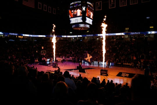 The Xavier Musketeers take the court during introductions before the first half of the NCAA Big East basketball game between the Xavier Musketeers and the Georgetown Hoyas at the Cintas Center in Cincinnati on Wednesday, Jan. 22, 2020.