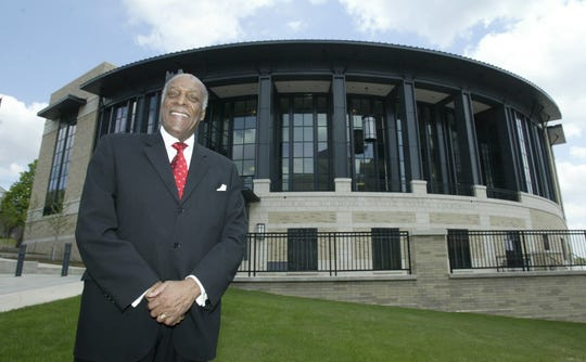 May 4, 2003: Judge Nathaniel Jones stands outside the new federal courthouse that will bear his name in Youngstown, Ohio.
