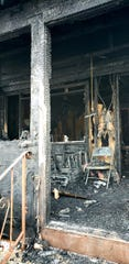 The porch at the home at 62 Charles St., Metuchen was heavily damaged by fire Wednesday night.