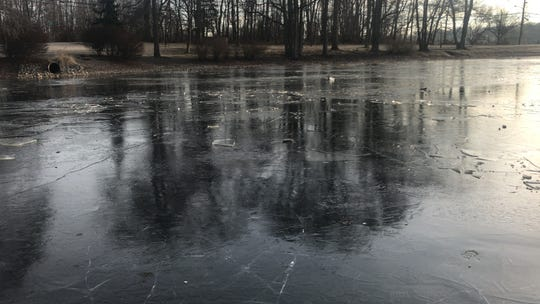 Yousef Khela, 13, and two friends slipped through the ice at the pond on Civic Center Drive Wednesday afternoon. The other two boys self-rescued. Khela was rescued by first responders but later died at the hospital.