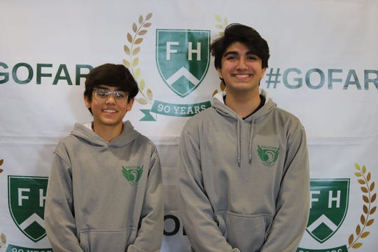 Pictured are second-place winner and Far Hills Country Day School eighth grade student Ishaan Dhankhar (left) and first-place winner and Far Hills Country Day School eighth grade student Armin Ziaee (right).