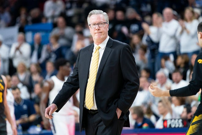 Iowa coach Fran McCaffery looks on during the first half of a game against Penn State on Jan. 4 in Philadelphia. Penn State won 89-86.
