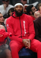 Detroit Pistons center Andre Drummond watches action against the Sacramento Kings, Wednesday, Jan. 22, 2020 at Little Caesars Arena.
