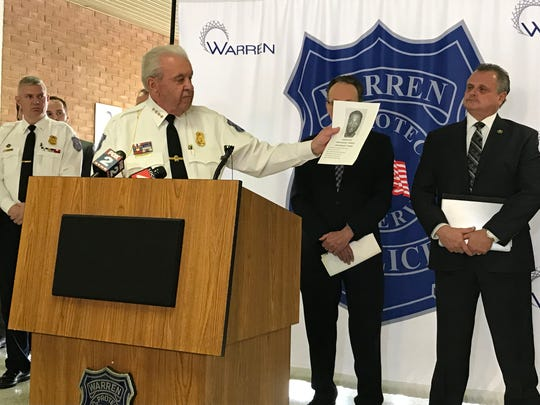 Warren Police Commissioner Bill Dwyer talks about one of 50 fugitives arrested in a five-day sweep in metro Detroit on Jan. 23, 2020 at Warren Police Headquarters.