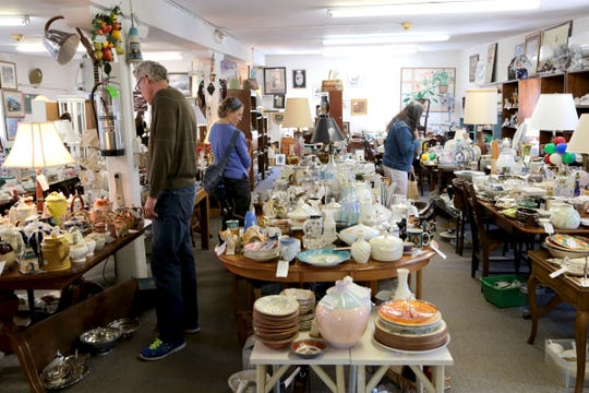 Glasswares for all tastes on the second floor at Treasure Mart in Ann Arbor with three floors of fun. Dishes, furniture, and many other treasures can be found.