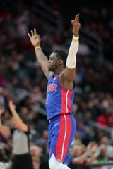 Detroit Pistons' Reggie Jackson celebrates after hitting a 3-pointer against the Sacramento Kings during the third period Wednesday, Jan. 22, 2020 at Little Caesars Arena.
