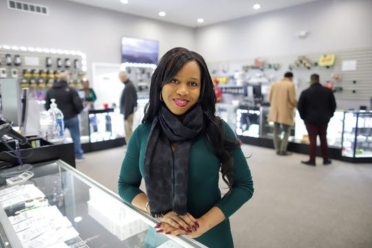 Vetra Stephens, CEO of RPTN group and operating manager of the cultivating and provisioning center, has her portrait taken at First Quality Medz, the first recreational marijuana dispensary in Wayne county in River Rouge, Mich. on Thursday, Jan. 23, 2020, seven weeks after legal sales began.
