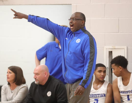 Southfield Christian head coach Clennie Brundidge during action against Inter-City Baptist high school in Southfield, Tuesday, Jan. 21, 2020.