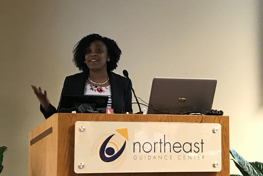 Tasha Gray, executive director of the Homeless Action Network of Detroit, speaks at a press conference  Thursday, January 23, where HUD awarded nearly $25M to Detroit-based homeless care organizations.