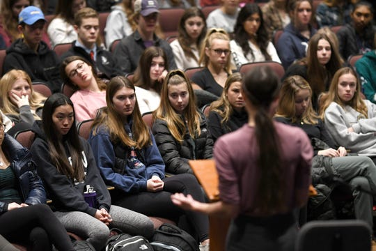 Birmingham Seaholm High School  students listen to Rachael Denhollander on Thursday, January 23, 2020 about her courageous decision to publicly accuse Larry Nassar.