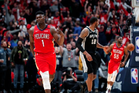 New Orleans Pelicans forward Zion Williamson makes a 3-point basket in the fourth quarter.