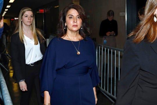 Actress Annabella Sciorra arrives as a witness in Harvey Weinstein's  rape trial, in New York, Thursday, Jan. 23, 2020.