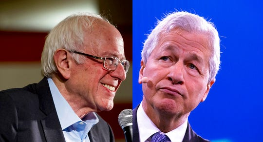Sen. Bernie Sanders, I-Vt.,left, and JPMorgan Chase & Co. chief Jamie Dimon.