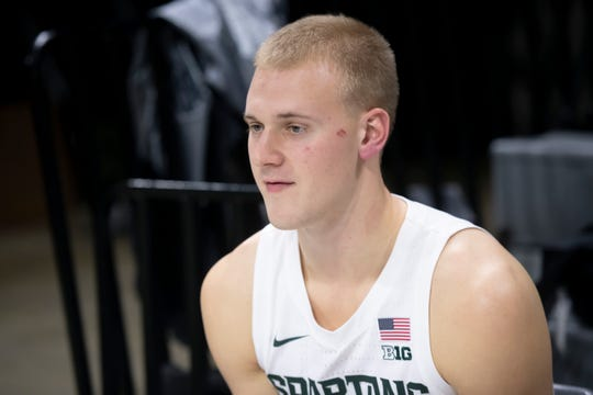 Michigan State forward Joey Hauser answers questions during the basketball team's media day in October at Breslin Center in East Lansing.