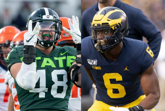 Michigan State's Kenny Willekes and Michigan's Josh Uche are at the Senior Bowl this week trying to impress NFL scouts with their pass-rushing skills.