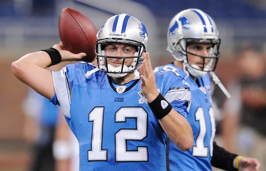 Detroit Lions quarterback Drew Henson throws a pass during warmups during a preseason game at Ford Field in 2008.