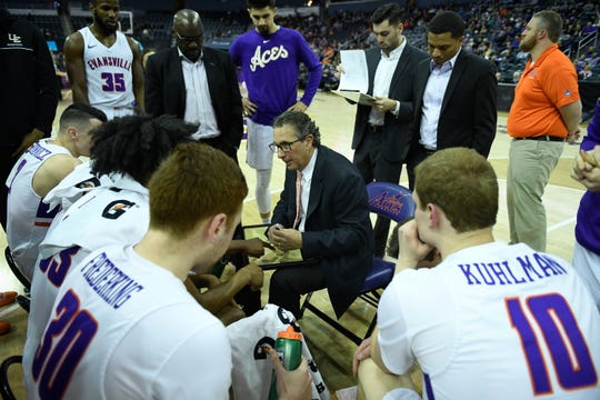 Evansville's head coach Todd Lickliter talks to his team during a timeout as the University of Evansville Purple Aces play the Drake Bulldogs, the first game under new Aces head coach Wednesday afternoon at the Ford Center, January 22, 2020.