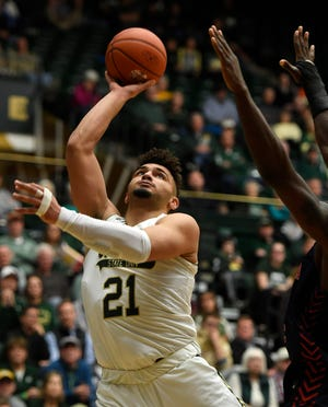 Colorado State Rams guard David Roddy (21) shoots a lay up in the second half of the game at Moby Arena at Colorado State University in Fort Collins, Colo. on Wednesday, January 22, 2020.