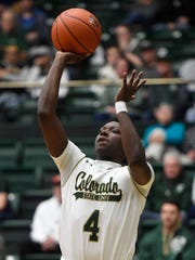 Colorado State Rams guard Isaiah Stevens (4) shoots the ball in the first half of the game at Moby Arena at Colorado State University in Fort Collins, Colo. on Wednesday, January 22, 2020.