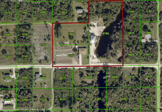 A map depicts the location of a palm tree farm in the midst of Kreamer's subdivision on Pine Island. Lee County commissioners approved a zoning change to allow the tree farm.