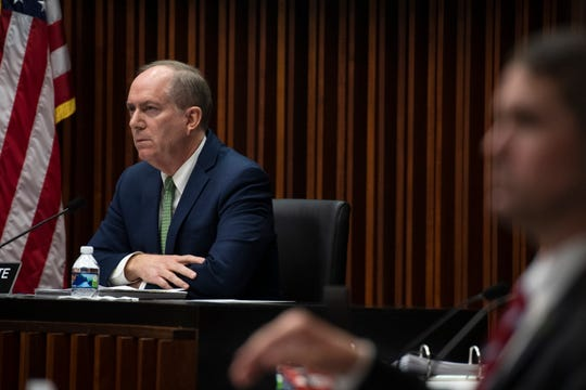 Greenville Mayor Knox White listens to comments from the audience during the city council meeting Wednesday, Jan. 22, 2020.