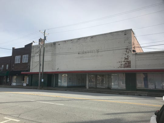 The old Kimbrell's Furniture building on N. Townville St. in Seneca, SC. The city bought the building and is refurbishing it to make it desirable for developers, in an effort to revitalize the city's downtown district.