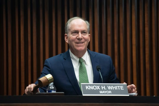 Greenville Mayor Knox White adjourns the city council meeting Wednesday, Jan. 22, 2020.