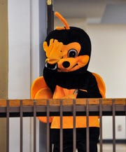 Skyline Center mascot Buzzy the bee.