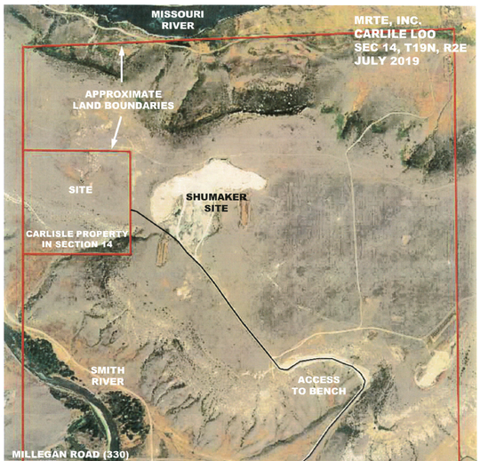 The Zoning Board of Adjustment approved a permit for a gravel pit, shown in the box labeled Carlisle Property. It is adjacent to an existing gravel pit shown as the Shumaker Site.