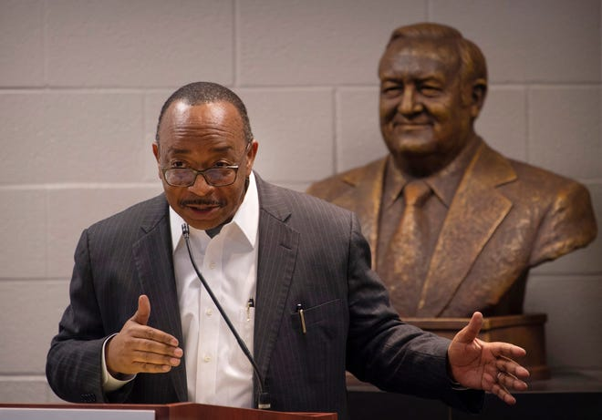 The Rev. Adrian M. Brooks Sr. addresses an audience during a talk about Dr. Martin Luther King Jr. in the Preston Arts Center on the campus of Henderson Community College Thursday afternoon, Jan. 23, 2020.