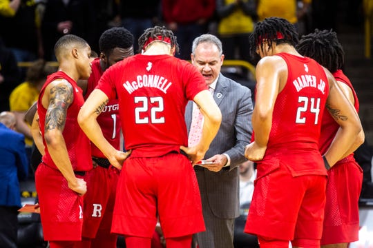 Rutgers head coach Steve Pikiell draws up a final play during a NCAA Big Ten Conference men's basketball game, Wednesday, Jan. 22, 2020, at Carver-Hawkeye Arena in Iowa City, Iowa.