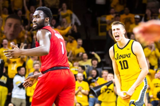 Joe Wieskamp normally doesn't show much emotion on the basketball court, but he let out a roar after making this 3-pointer late in Iowa's win over Rutgers on Wednesday. Wieskamp, a sophomore, has quietly put together a Hawkeye season worthy of all-Big Ten Conference consideration.