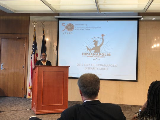 Camille Blunt, director of the city's Office of Minority and Women Business Development, speaks at the unveiling of a new disparity study analyzing contracts awarded by the city.