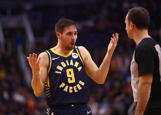 Jan 22, 2020; Phoenix, Arizona, USA; Indiana Pacers guard T.J. McConnell reacts as he argues with a referee against the Phoenix Suns in the first half at Talking Stick Resort Arena.