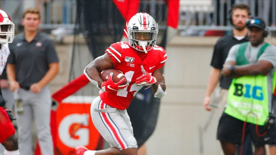 Ohio State receiver K.J. Hill plays against Miami (Ohio) during an NCAA college football game Saturday, Sept. 21, 2019, in Columbus, Ohio. (AP Photo/Jay LaPrete)
