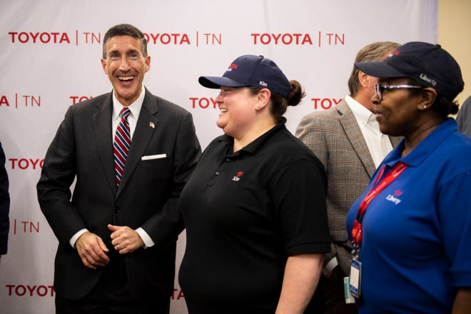 Congressman David Kustoff meets with Toyota team members at the Toyota Motor Manufacturing Tennessee factory in Jackson, Tenn., Thursday, Jan. 23, 2020.