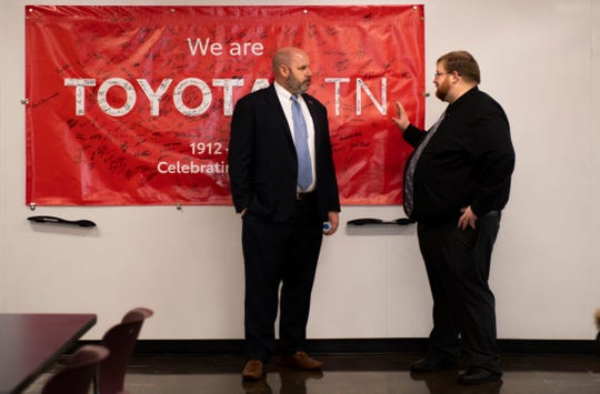 Ed Jackson III converses with Principal of Jackson Central-Merry Early College High, Nathan Lewis at the Toyota Motor Manufacturing Tennessee factory in Jackson, Tenn., Thursday, Jan. 23, 2020.