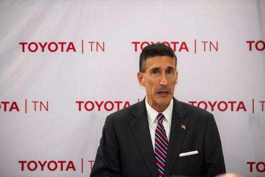 U.S. Rep. David Kustoff meets with Toyota team members at the Toyota Bodine Aluminum factory in Jackson, Tenn., on Jan. 23, 2020.