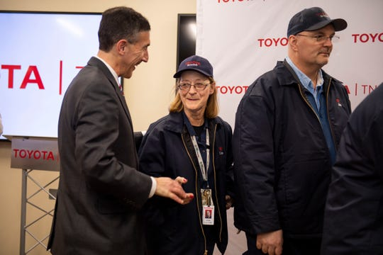 U.S. Rep. David Kustoff meets with worker Lisa Gilliam at the Toyota Bodine Aluminum factory in Jackson, Tenn., on Jan. 23, 2020.