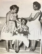 The crowning of Charlene Sain as 1958 Miss Y-Teen, Austin High School. With her are proud mom Mrs. Ozona Sain, left, and Mrs. Janet Peterson, Y-Teen director, Phyllis Wheatley Branch.