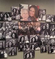 This wall is filled with photos of friends and supporters who encouraged Candace Viox to open Water into Wine.  Viox and her mother are at the top; the photo was taken before her mother died in 2011.