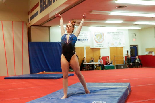 Harrison sophomore Haiven Gipson won the state championship in the vault on Saturday.